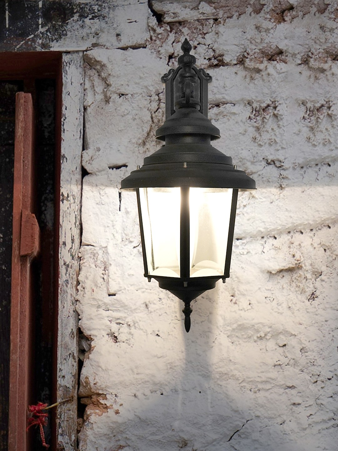 Crinkle Black Large Aluminium Outdoor Wall Sconce