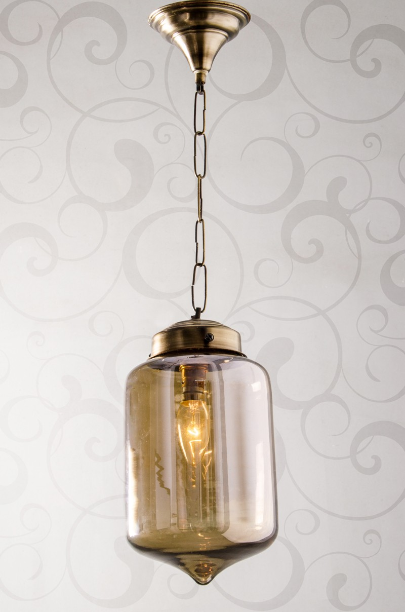 Smoke Glass Jar Pendant Light