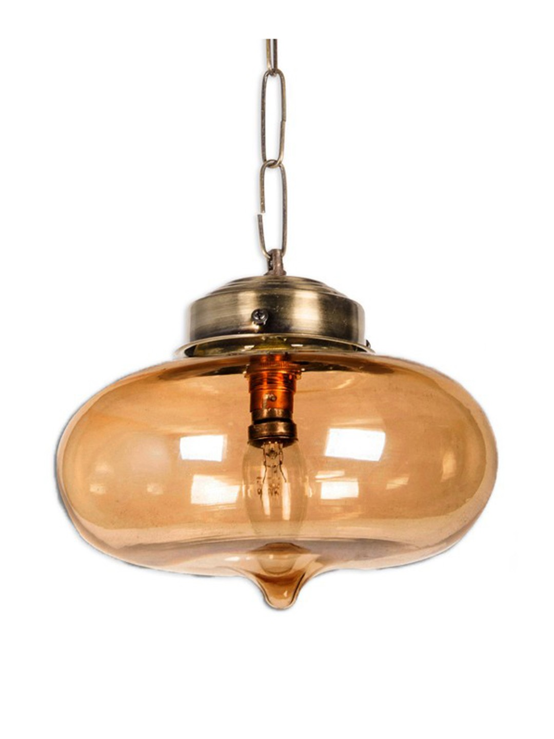 Golden Glass Bowl Pendant Light