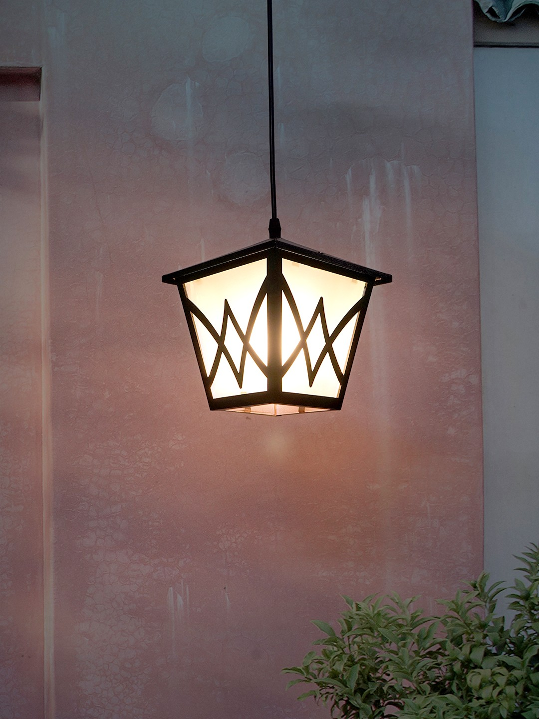 Black Metal Hut Outdoor Hanging Pendant Light with Frosted Glass