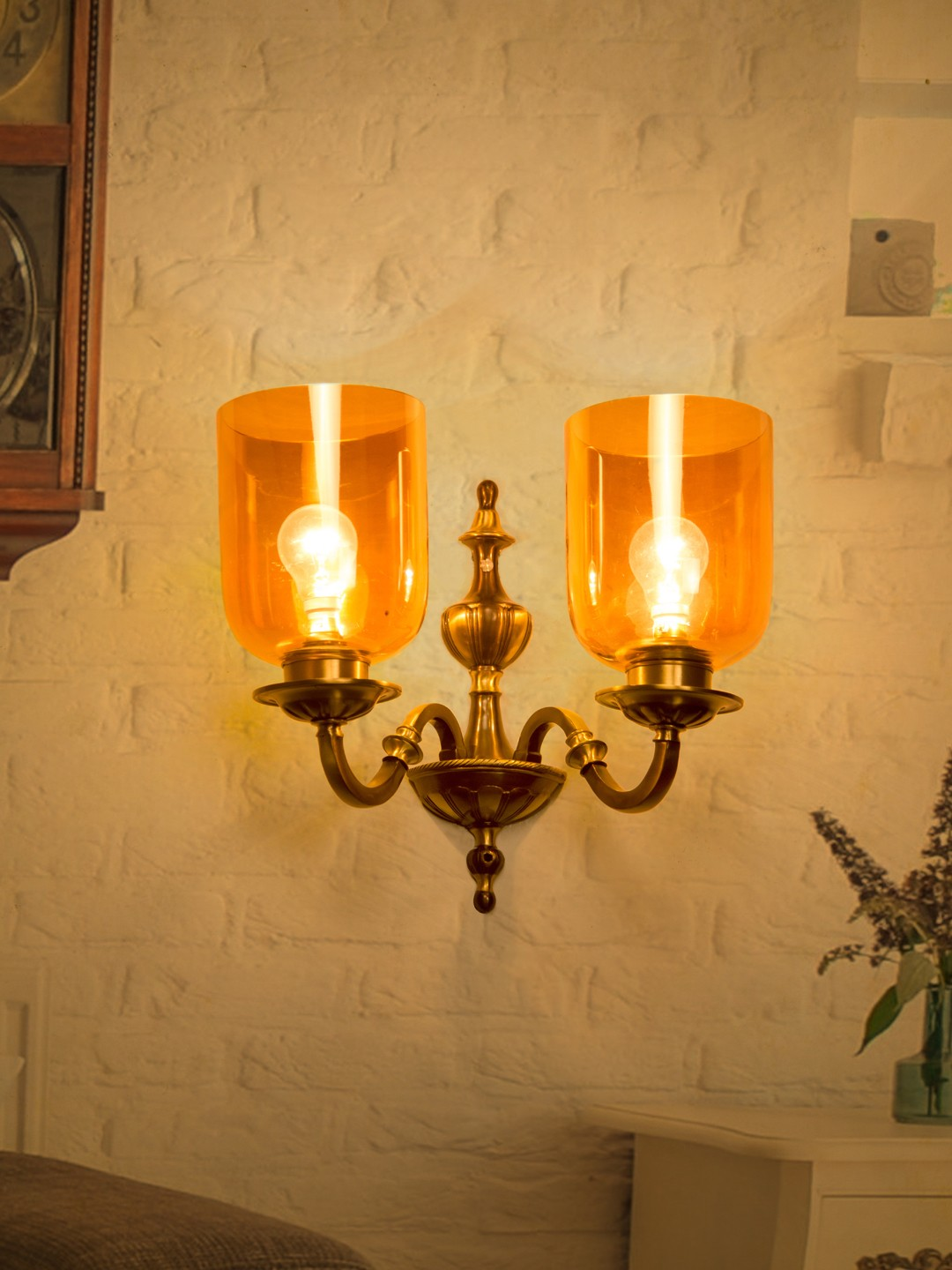 Fos Lighting Golden Luster Hurricane Classic Double Wall Sconce