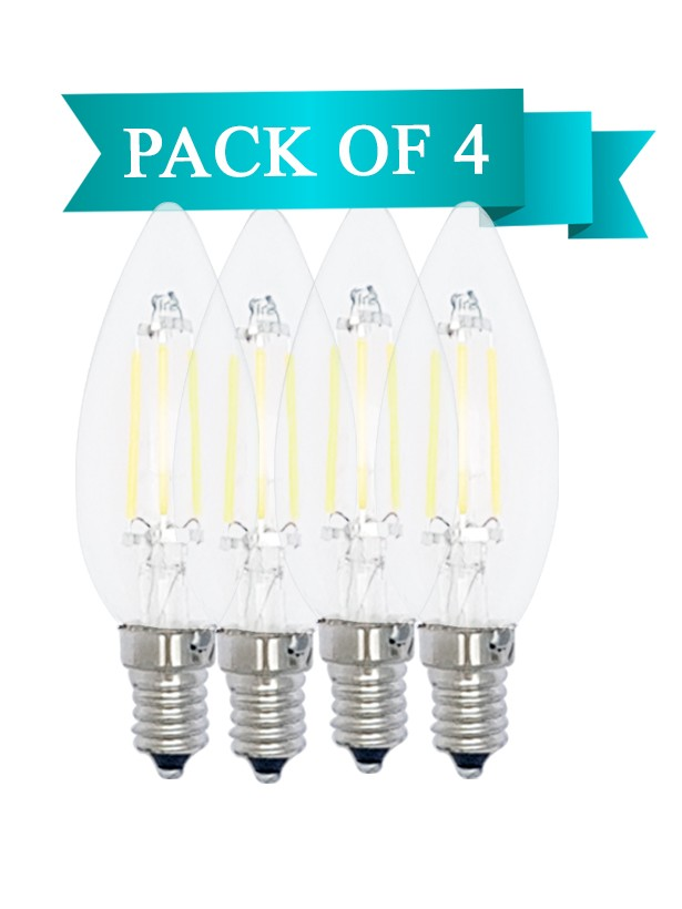 6W LED Filament Clear Candle E14 Bulb Warm White - Pack of 4