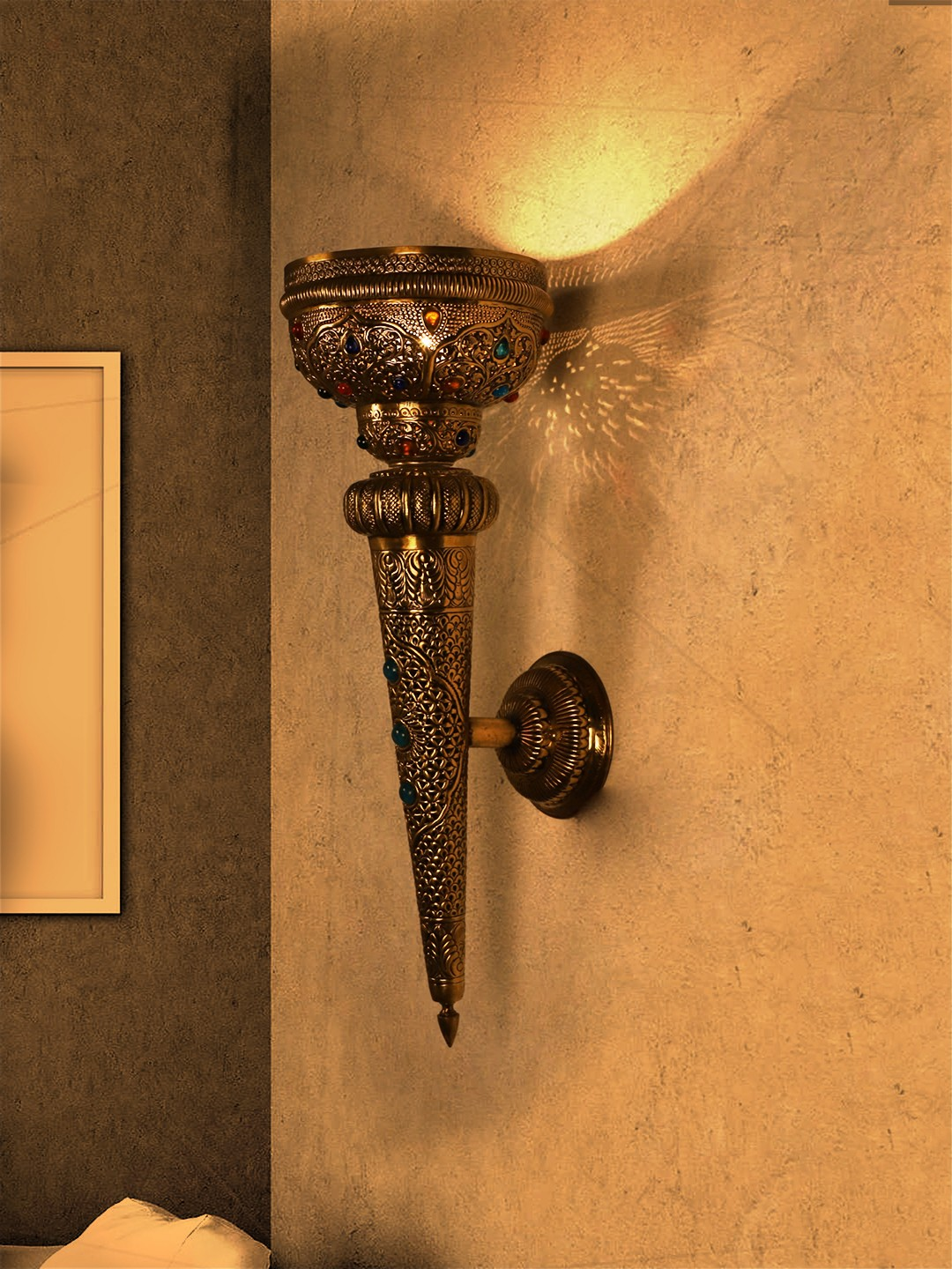 Mughal Style Antique Hand Crafted Brass Mashal with Gems Wall Sconce
