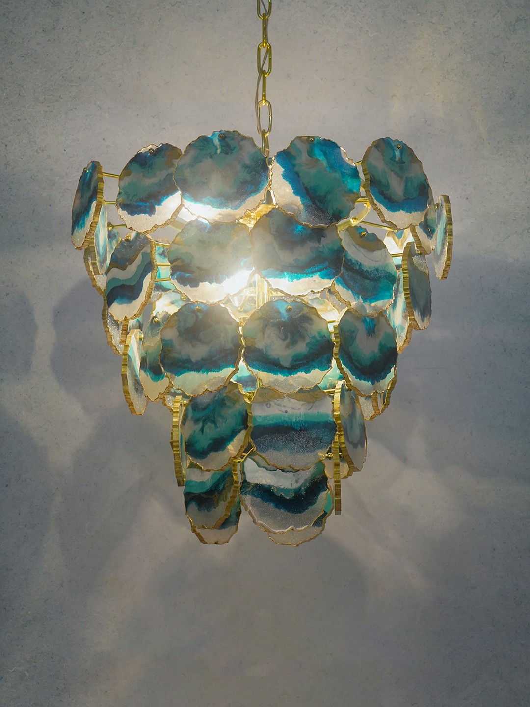 Sliced Green and Gold Resin Agate 4 Light Tiered Brass Chandelier