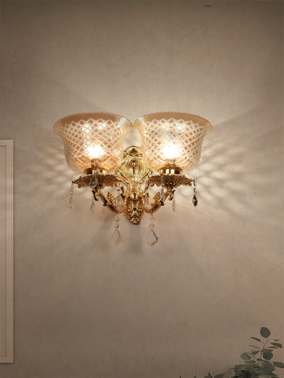 Majestic Gold & Crystal Aluminium Double Wall Sconce with Golden Hand Cut Glass Shades