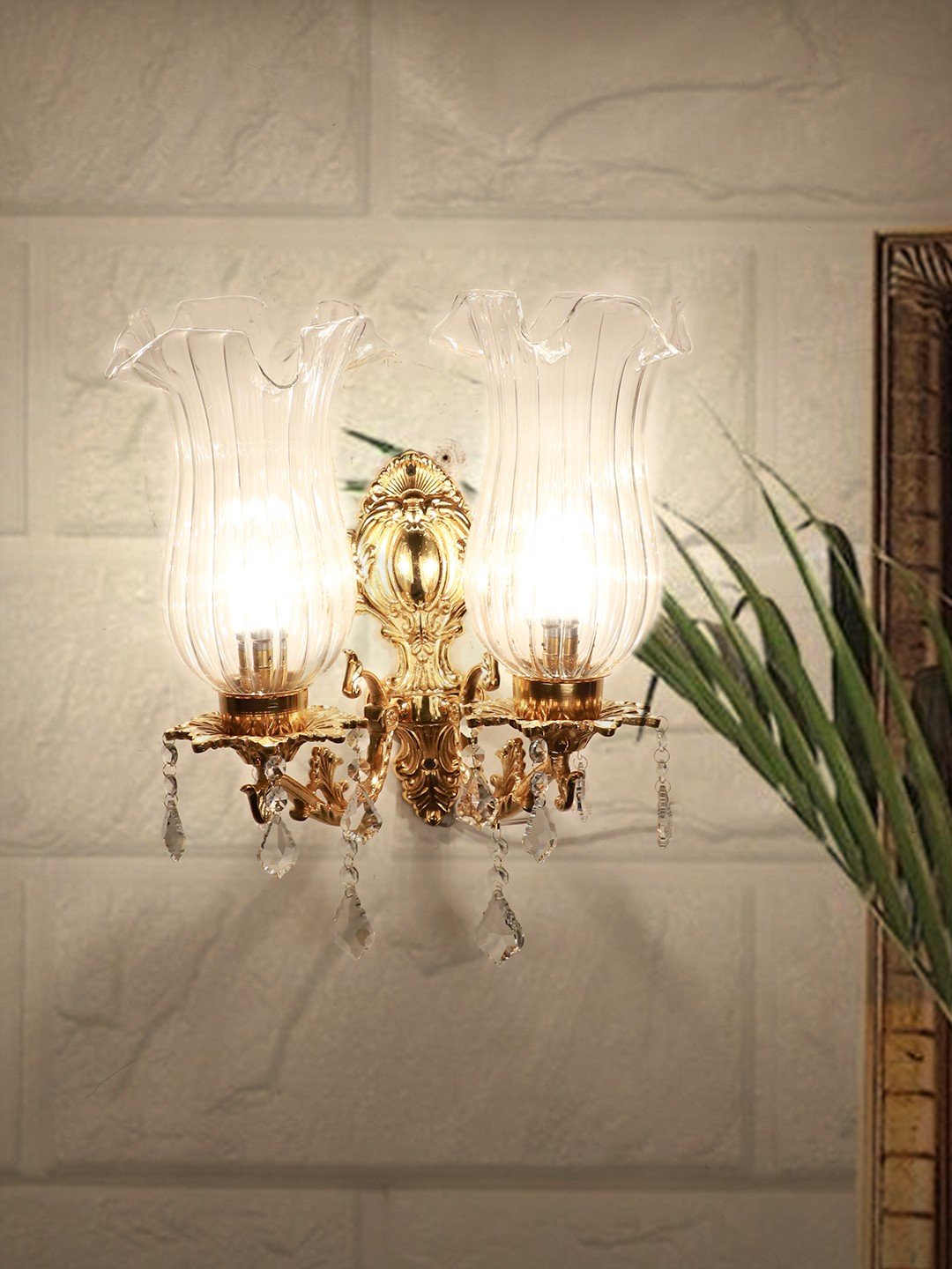 Majestic Gold & Crystal Aluminium Double Wall Sconce with Fluted Glass Jar Shades