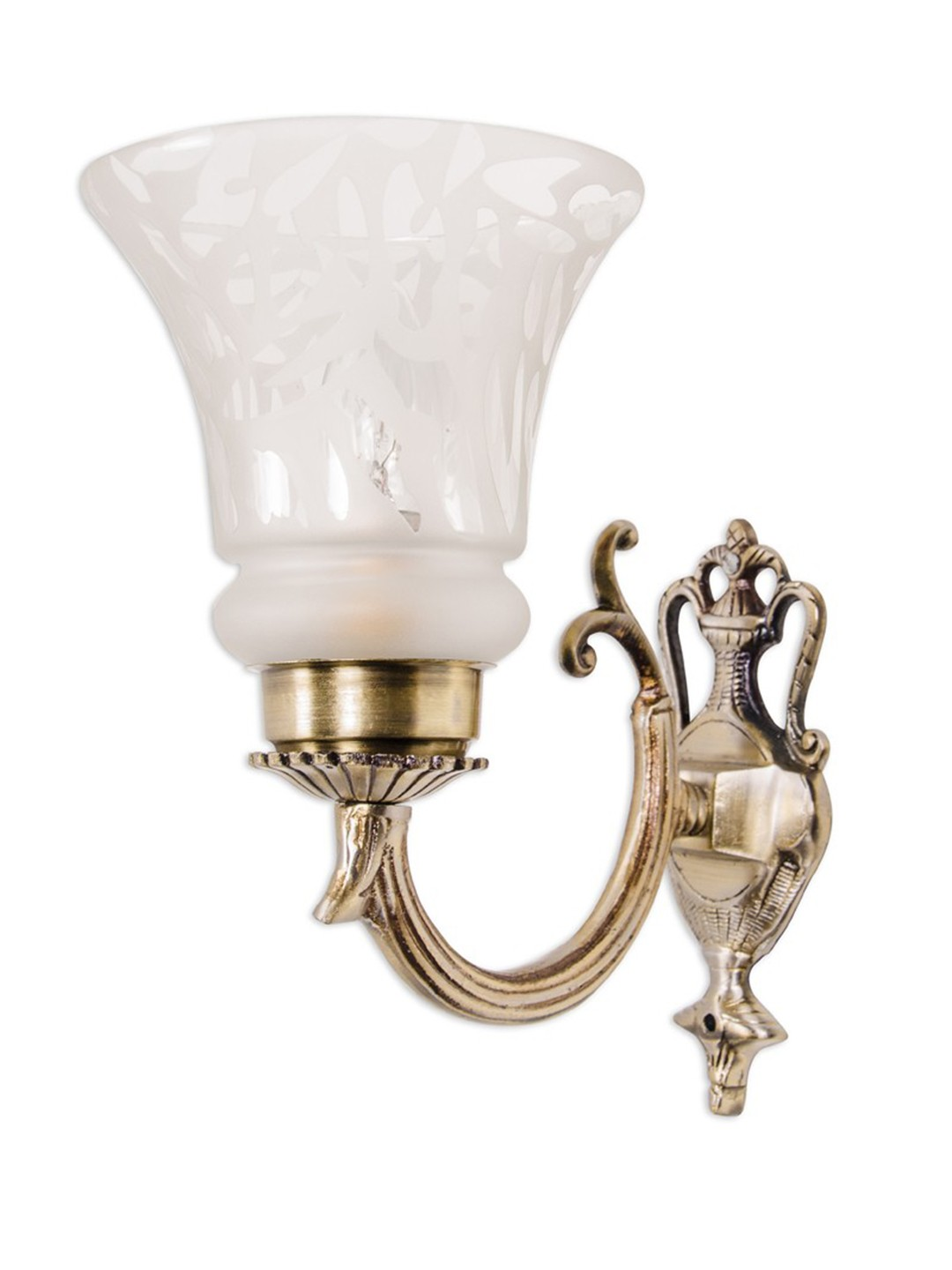 Small Embossed Single U Arm Wall Light