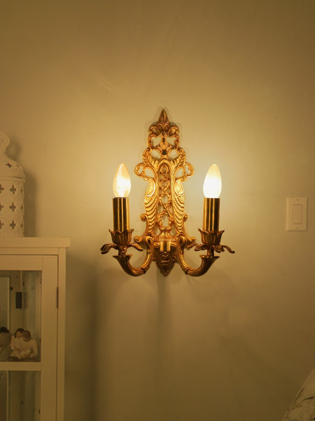 Opulent Aluminum French Gold 2 Light Candle Wall Sconce