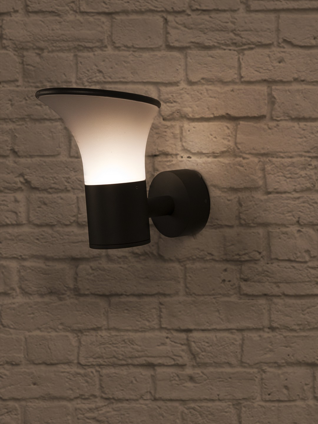 Contemporary Outdoor Wall Sconce in Aluminium and Bent Acrylic Shade