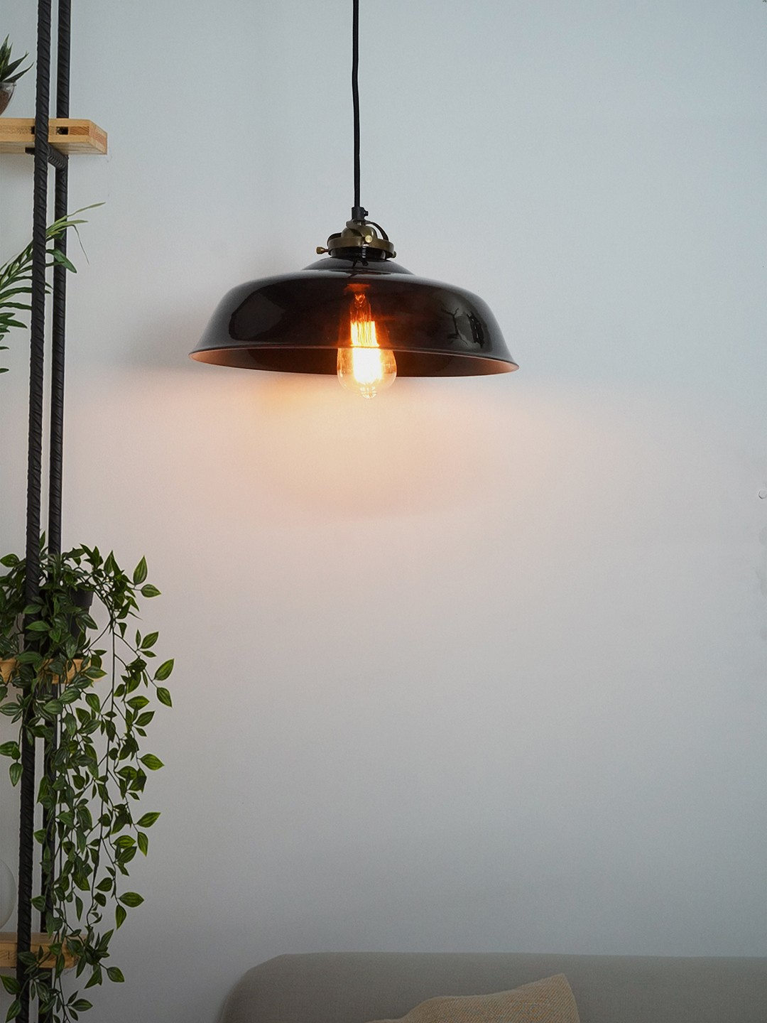Classic American Smoked Glass Industrial Ceiling Pendant Light