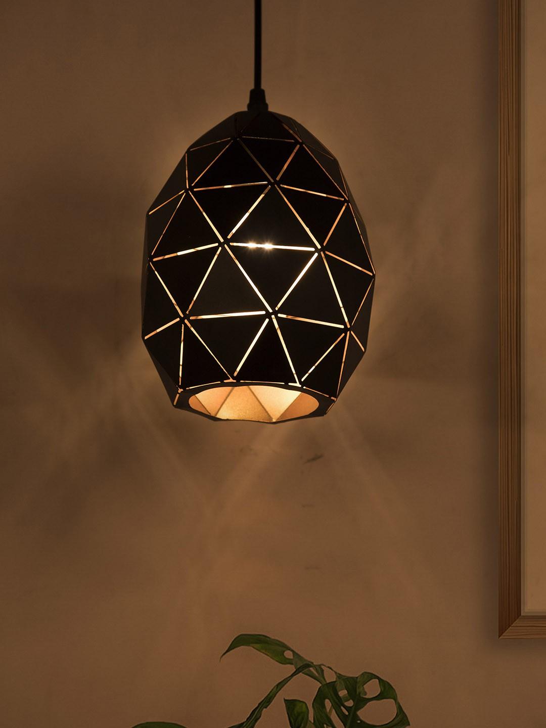 Small Black Oval Geometric Pendant Light