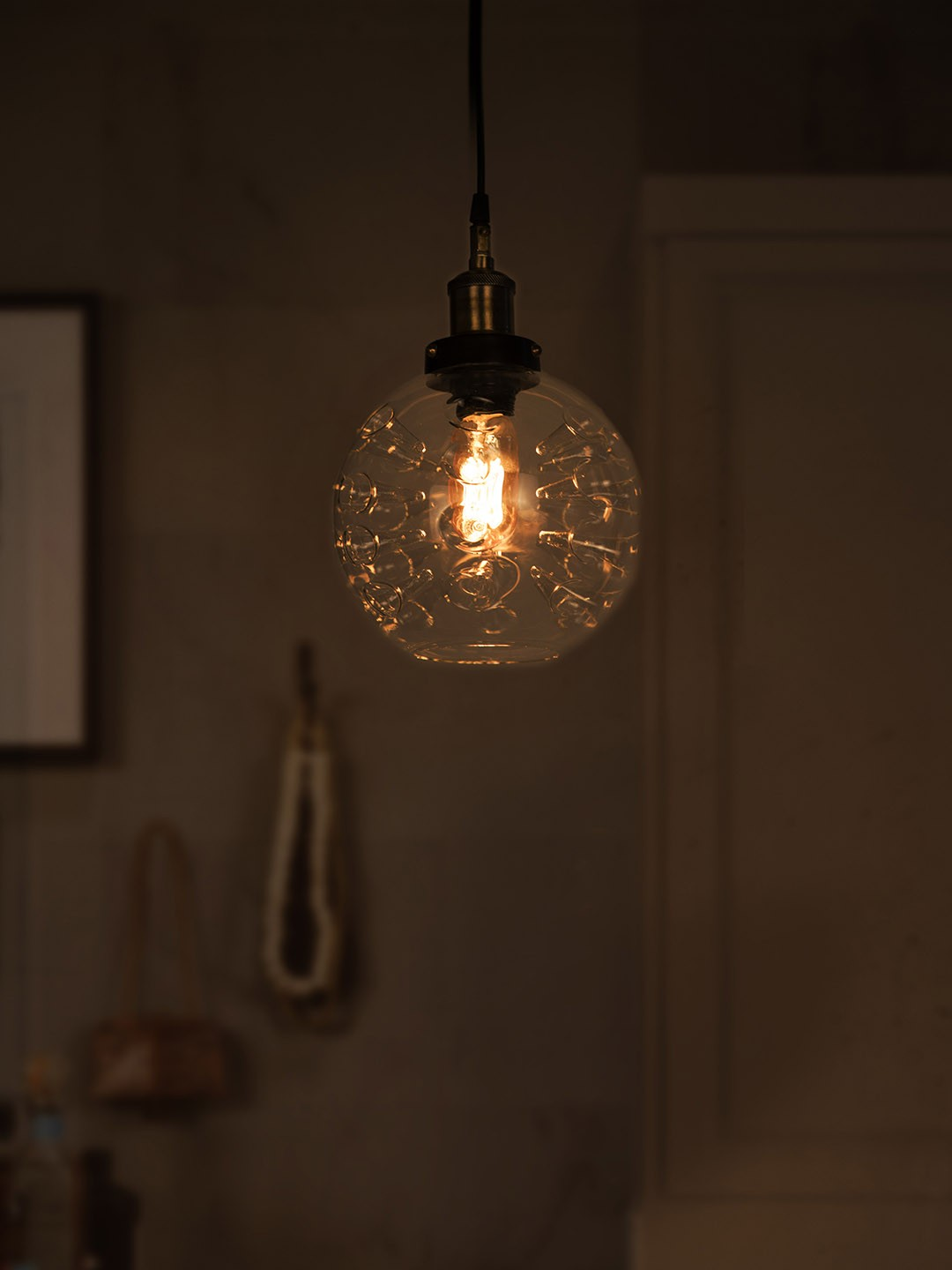 Magic Inverted Spikes Hand Blown Glass Dome Edison Pendant Light
