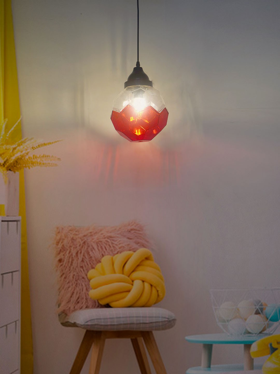 Football Shaped Acrylic Hanging Light in Red and Clear Color