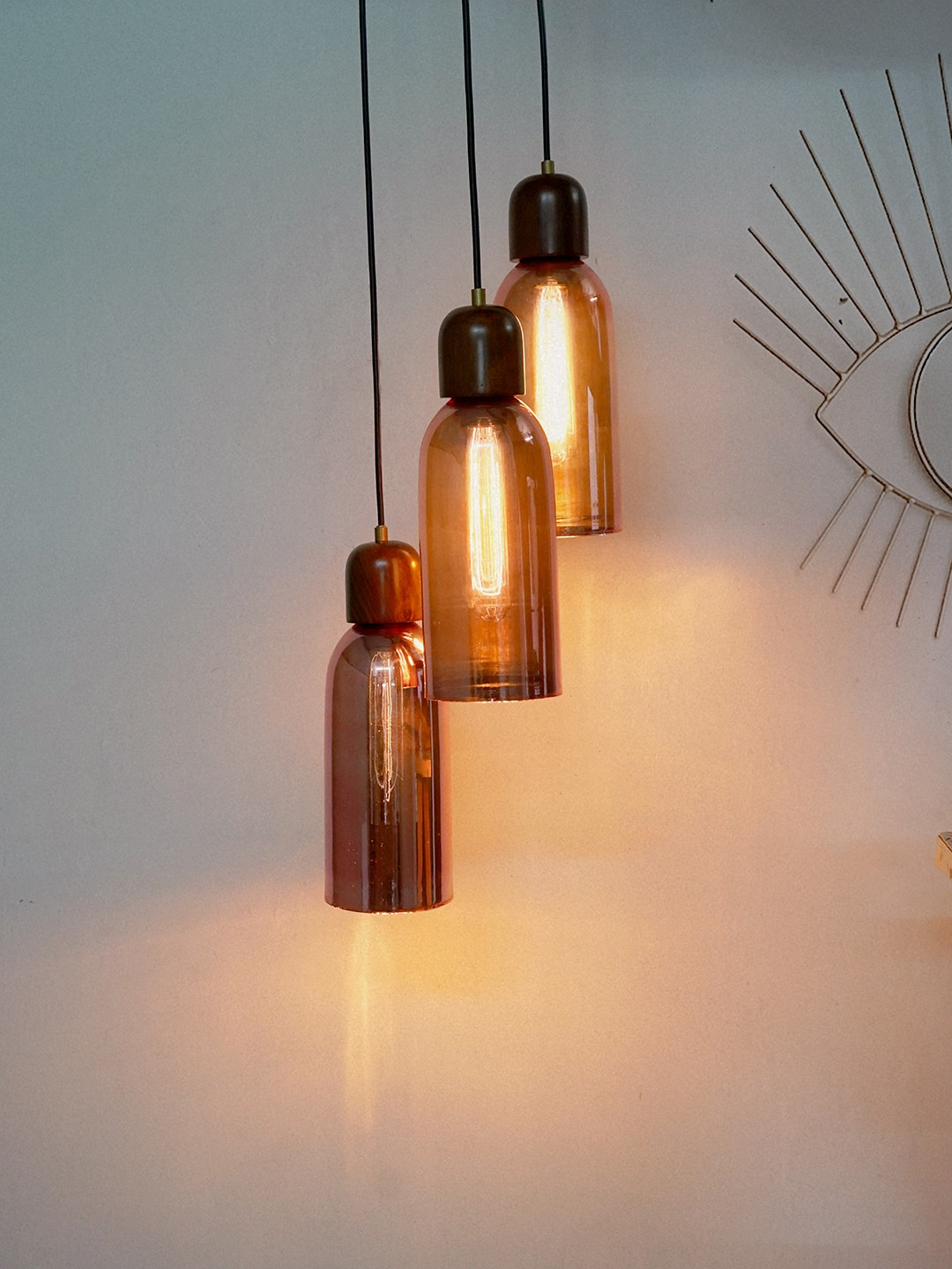 Cluster of 3 Rose Gold Glass Jars Hanging Light with wooden plate and holders