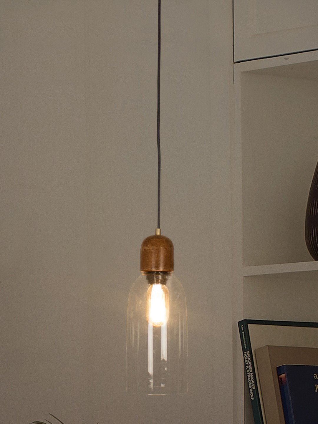 Modern Clear Glass & Wood Pendant Light