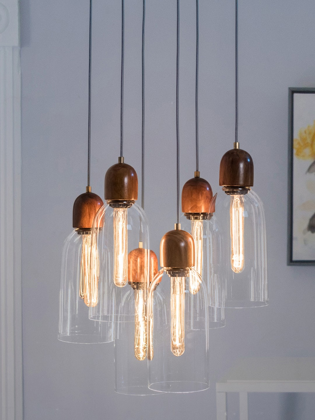 Modern Clear Glass & Wood 6 Light Pendant Light