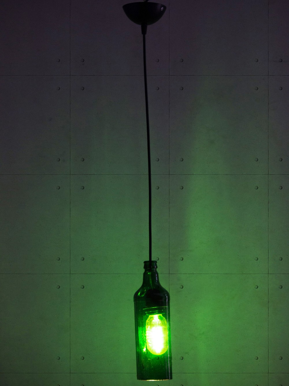 Green Glass Bottle Hanging Pendant Light