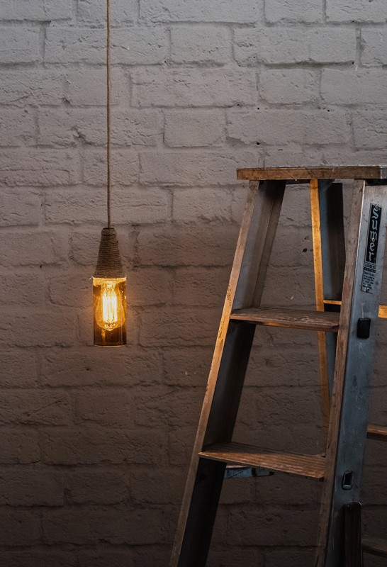 Glass Rope Bottle Pendant Light