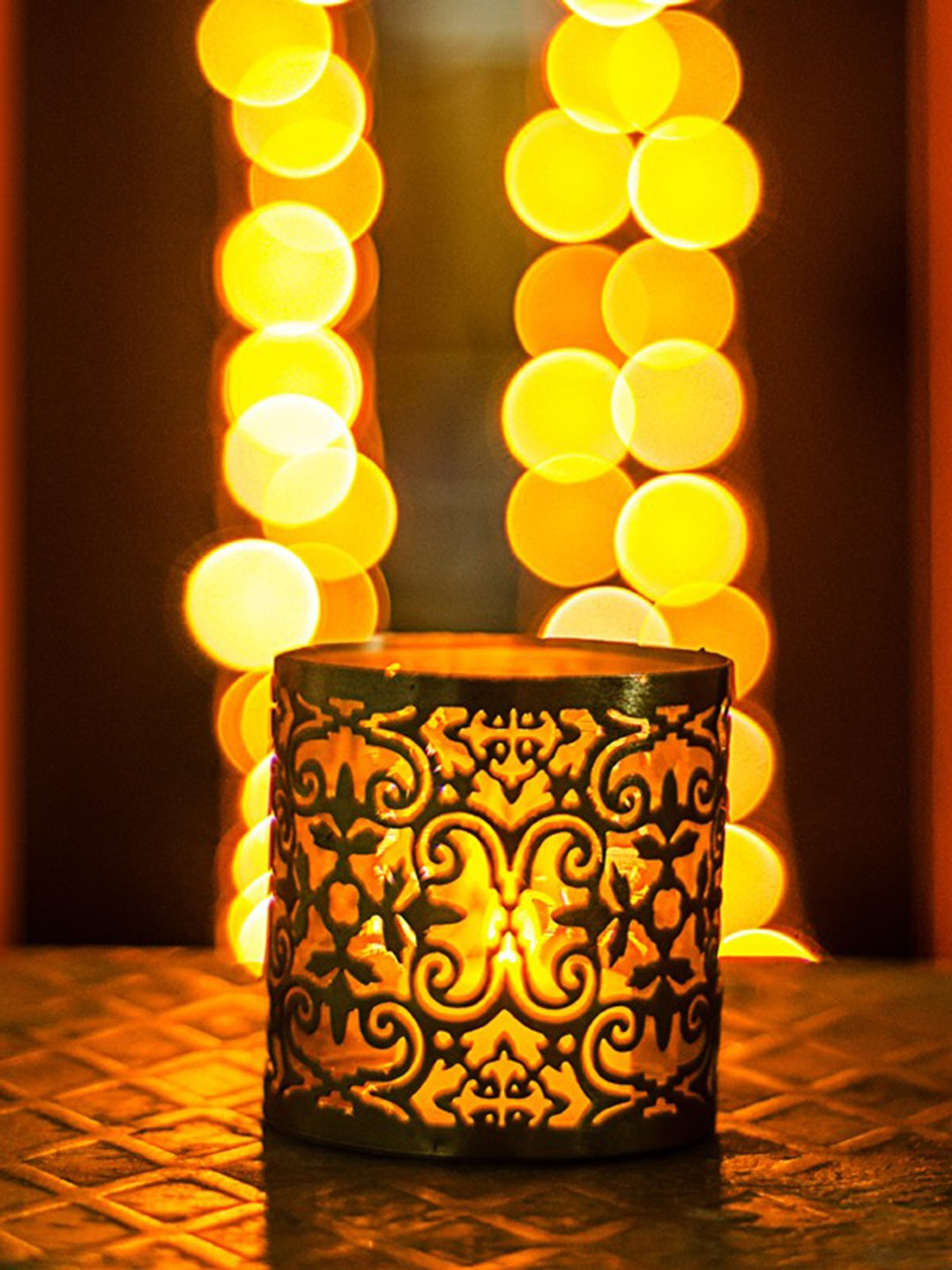 Golden Jaali Tealight Candle Holder