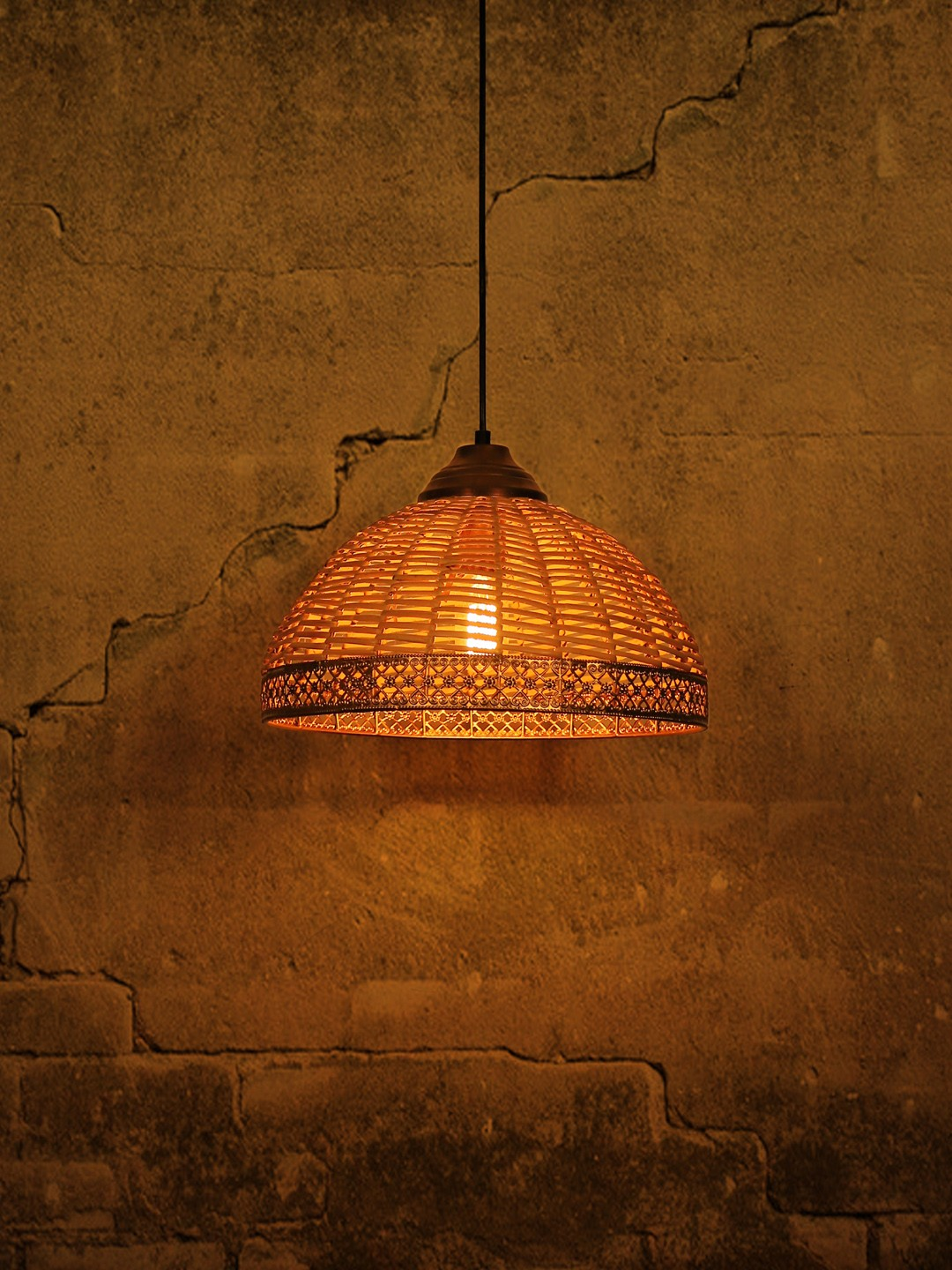 Wicker Cane Dome Pendant Light