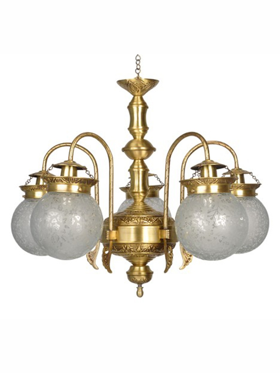 Etched Globes 5 Light Brass Chandelier