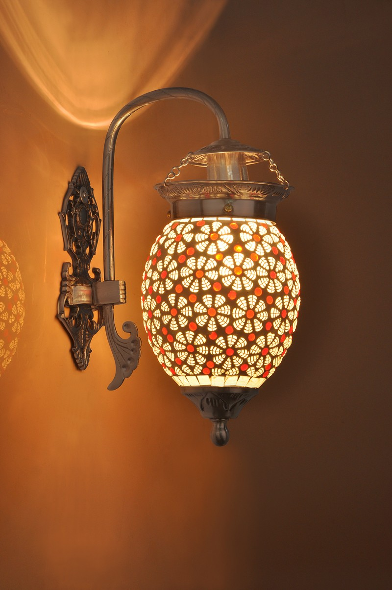 Magical Red Mosaic Oval Wall Hanging Light