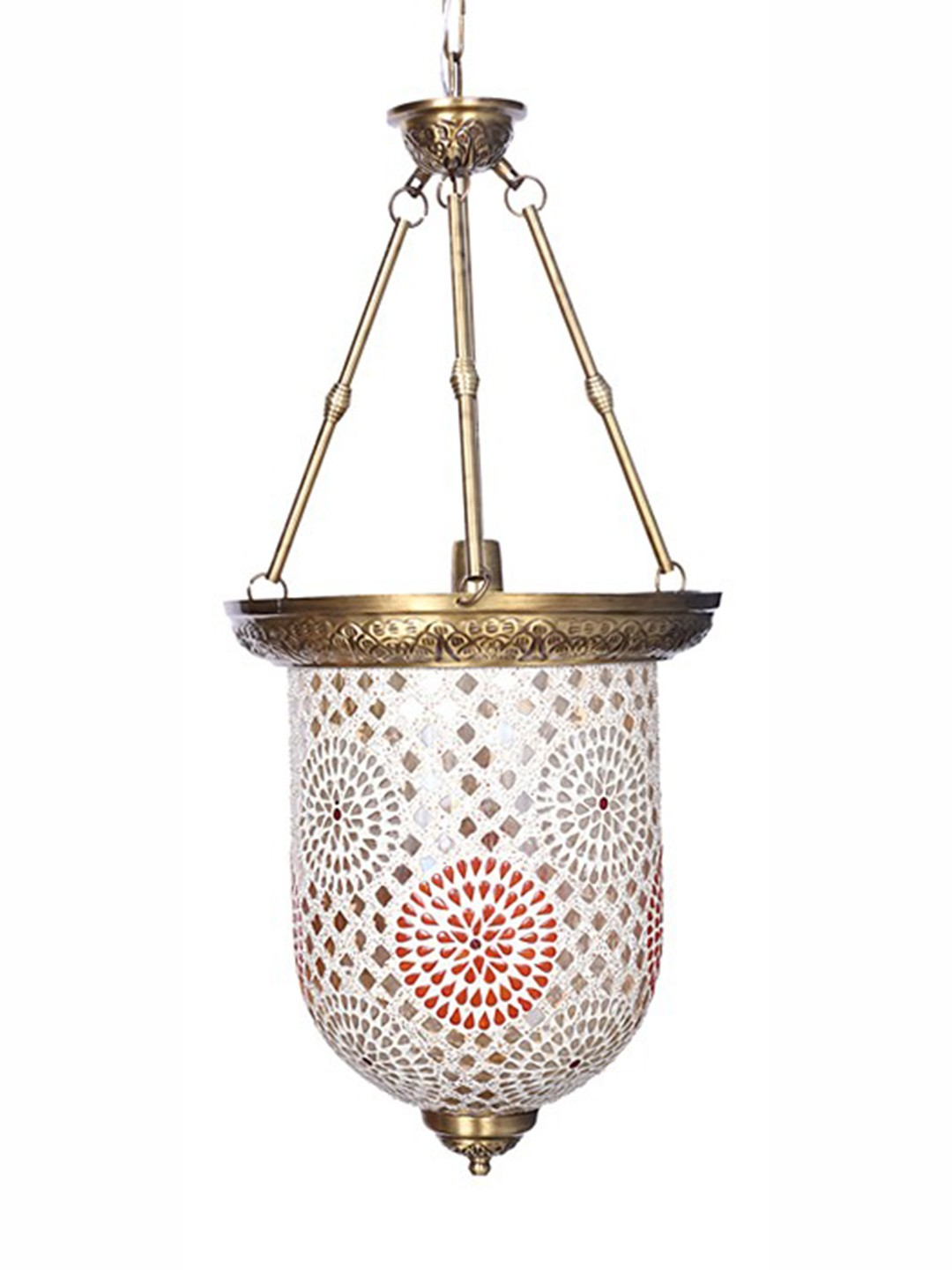 Brass Tilak Mosaic Glass Bell Jar Hanging Light