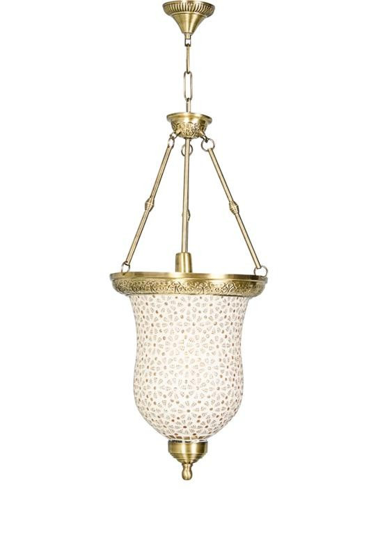 Mosaic Leaf Glass Bell Jar Hanging Light