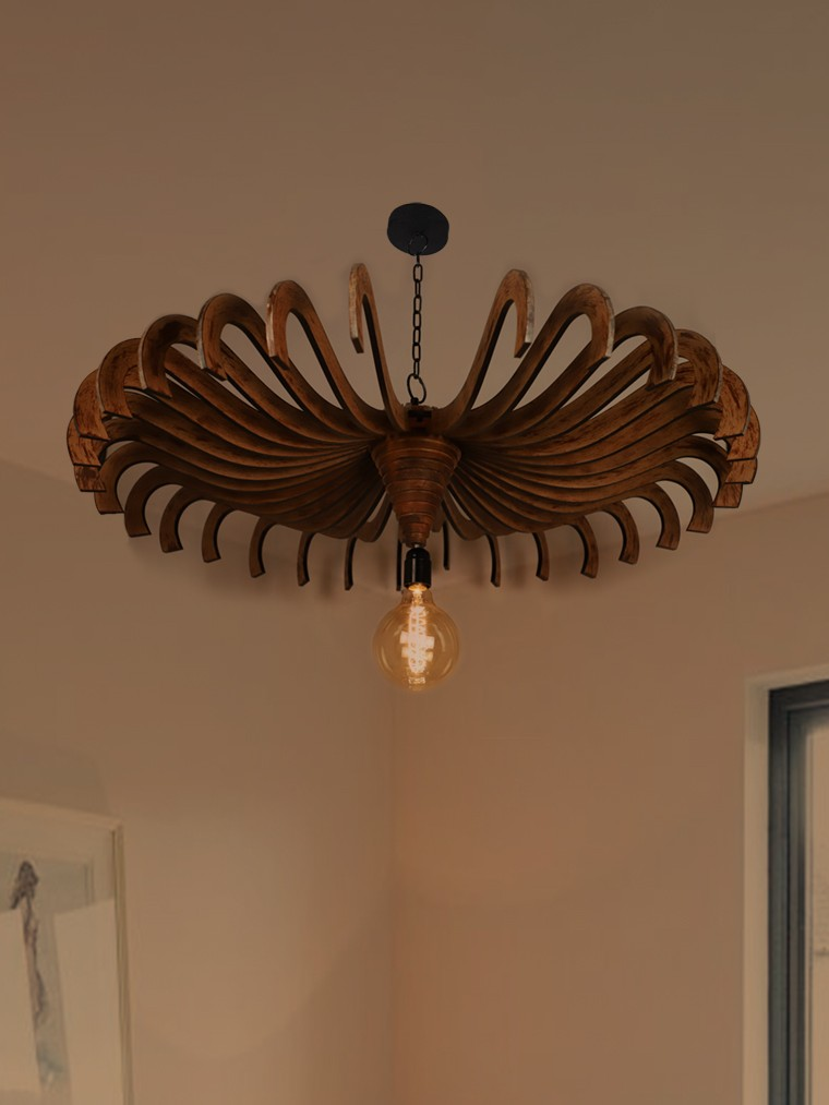 Modern 36 Inches MDF Wood Finished Flower Downward Pendant Light