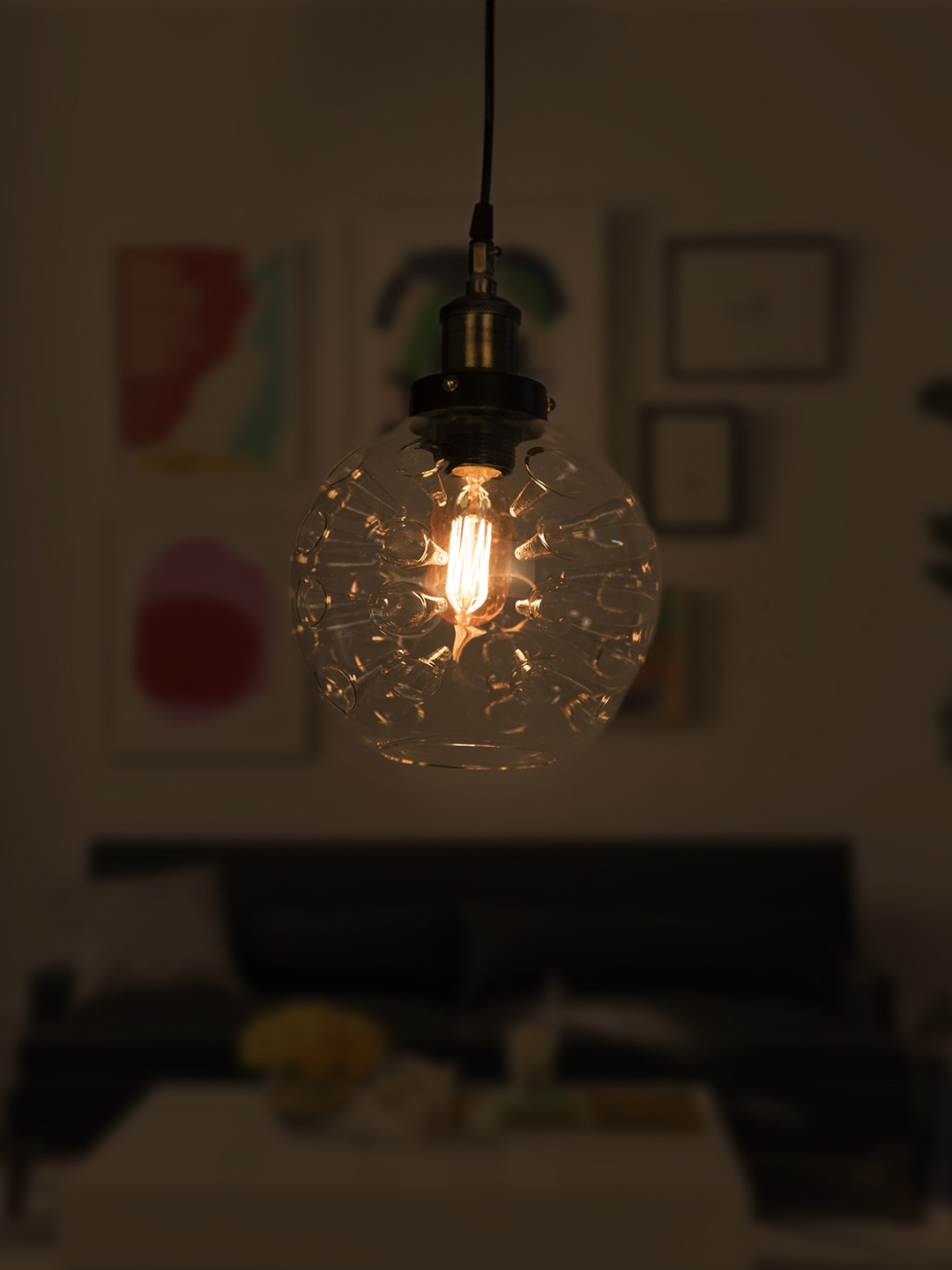 Magic Inverted Spikes Hand Blown Glass Dome Copper Pendant Light