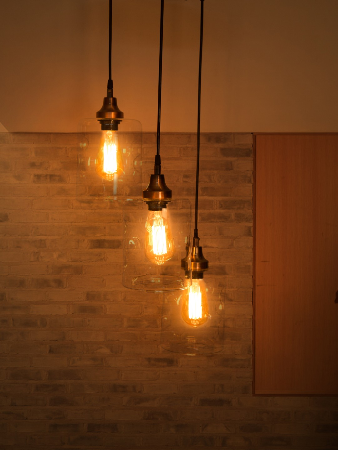 3 Drop Cylinderical Spot Glass Copper Pendant Light