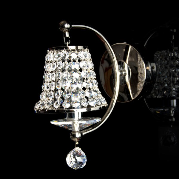 Crystal shade black chrome single wall light