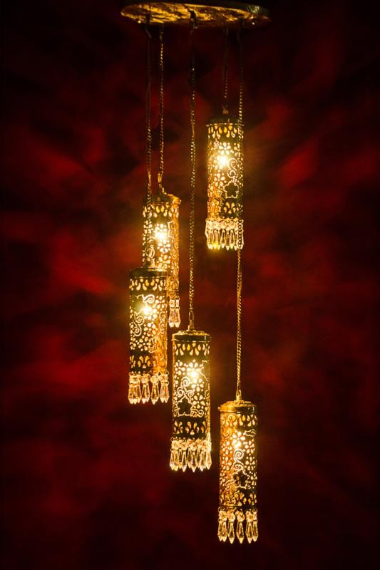 Hand Carved Brass & Crystal Mini Cylinder Set of 5 Hanging Light