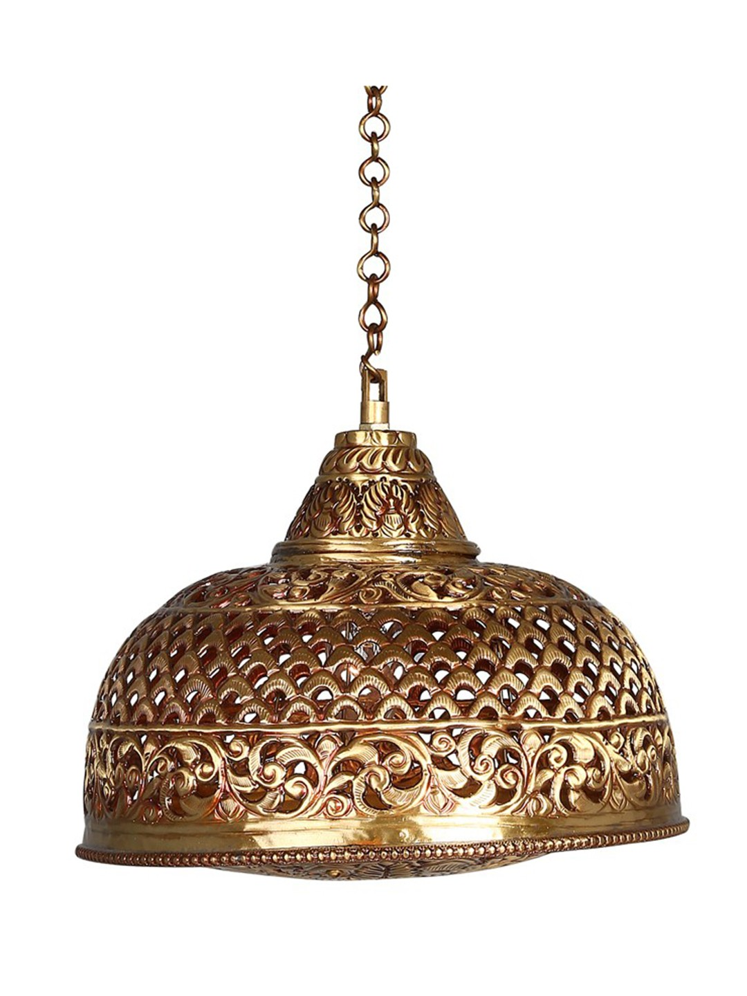 Hand Pierced Brass Dome Single light Small Hanging