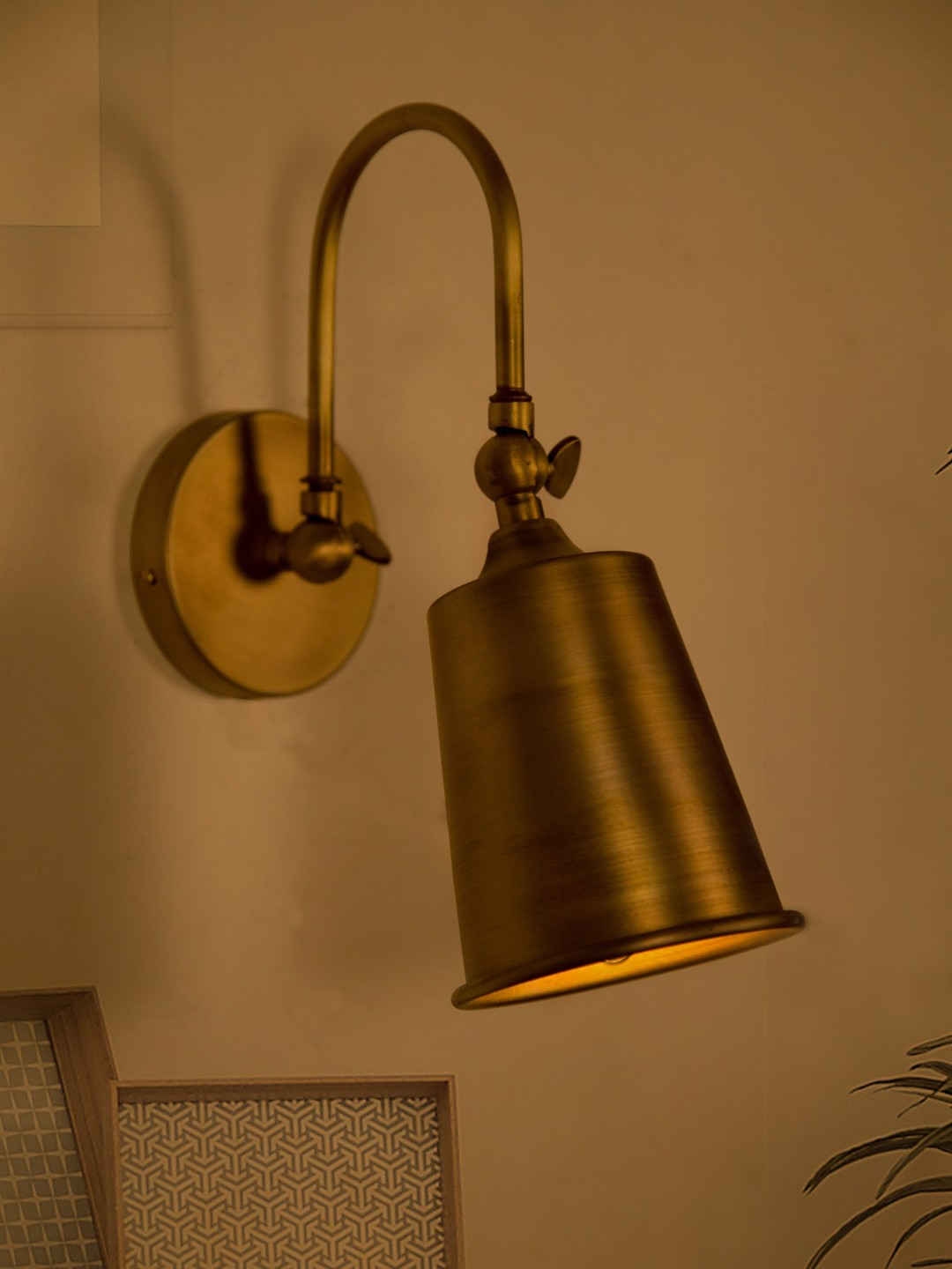 Fos Lighting Small Vintage Matte Gold Swivel Wall Sconce