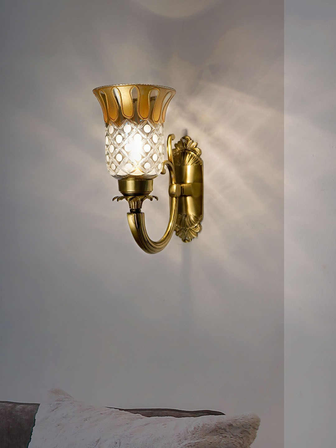 Royal Metal and Glass Single Wall Lamp - (Golden Work with Antique)