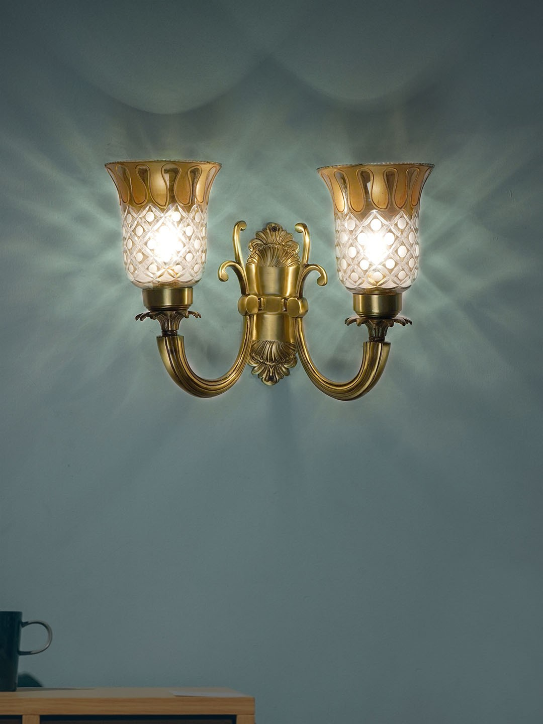Royal Metal and Glass Double Wall Lamp - (Golden Work with Antique)