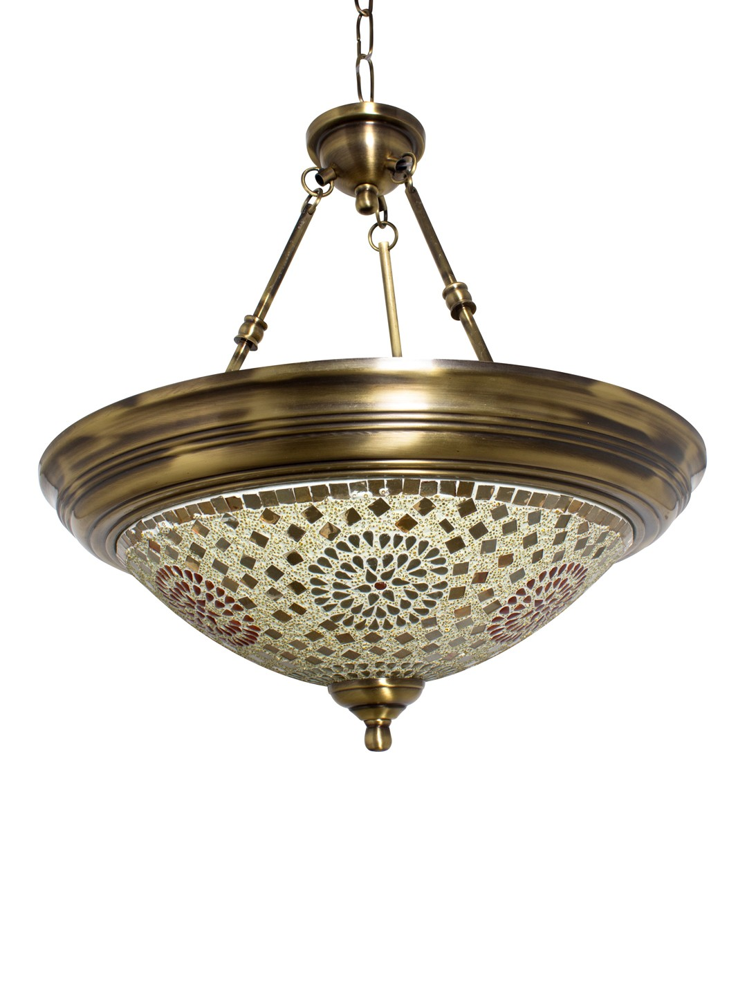 Dish Tilak Antique Brass 3 Light Hanging Light