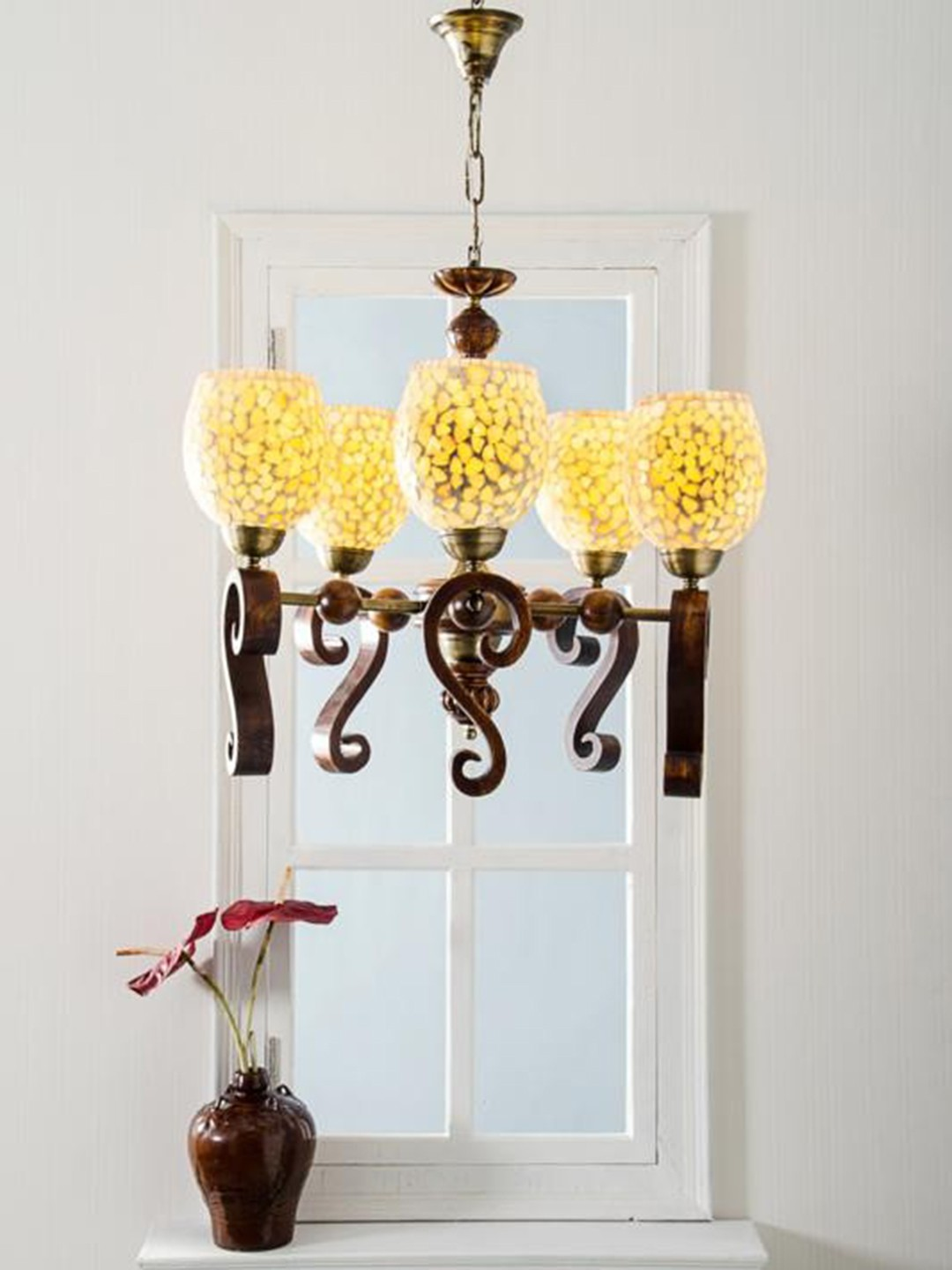 Wood Carved MOP glass Chandelier