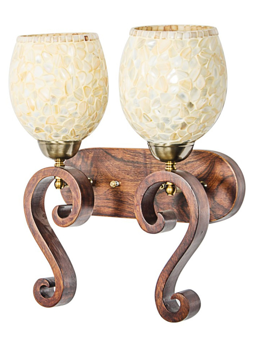 Wood Carved MOP glass Double Wall Lamp