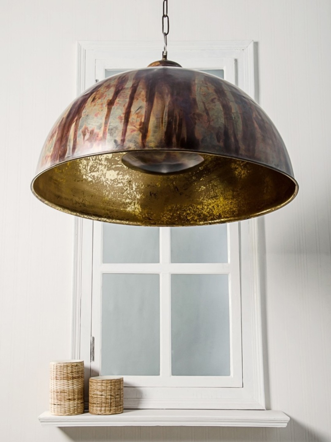 Drip Copper Large Dome Hanging Light