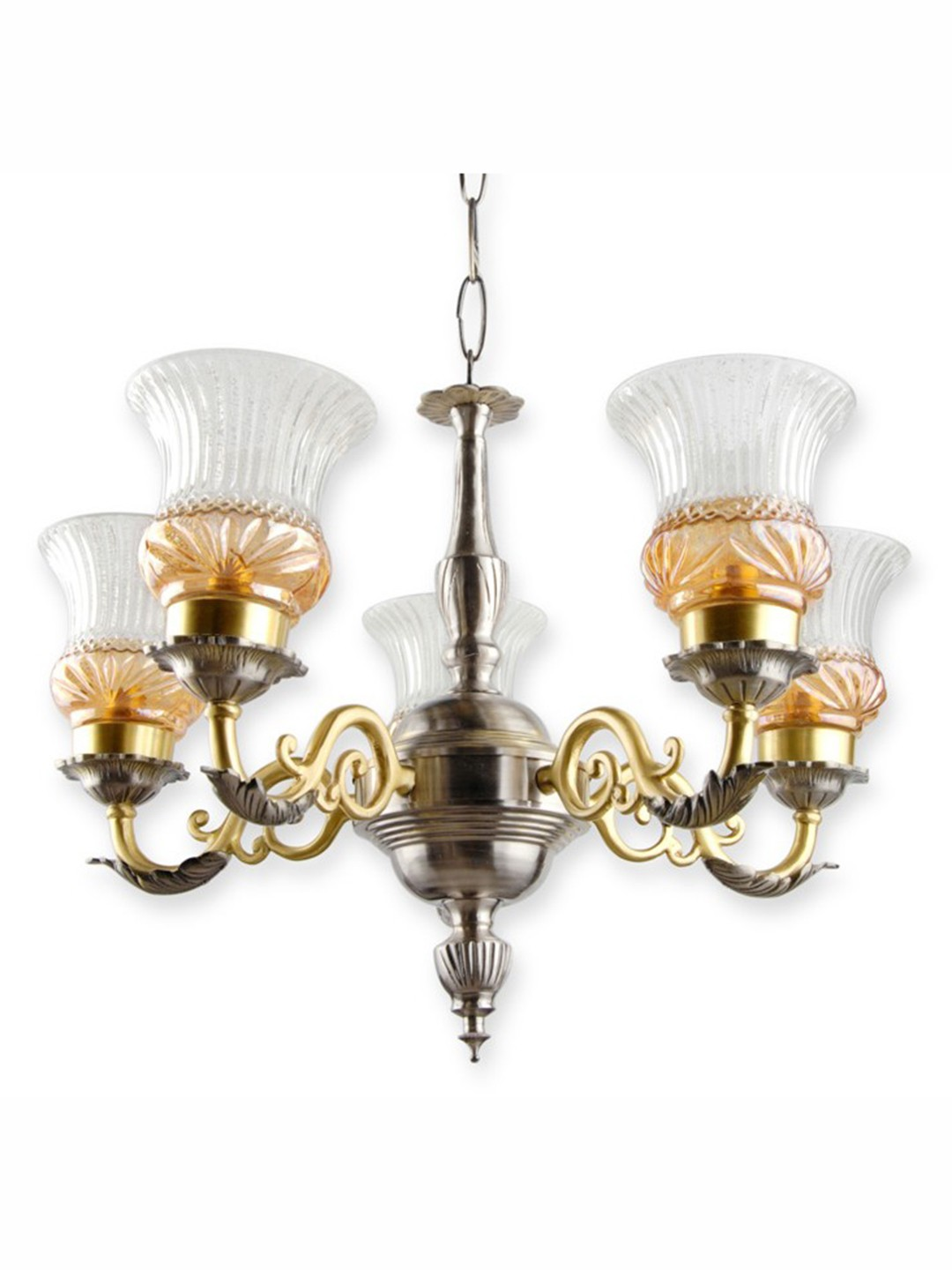 Dual Finish Luster Brass Chandelier
