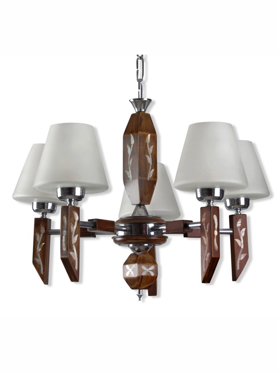Princess Mother of Pearl Inlay Wood Chandelier