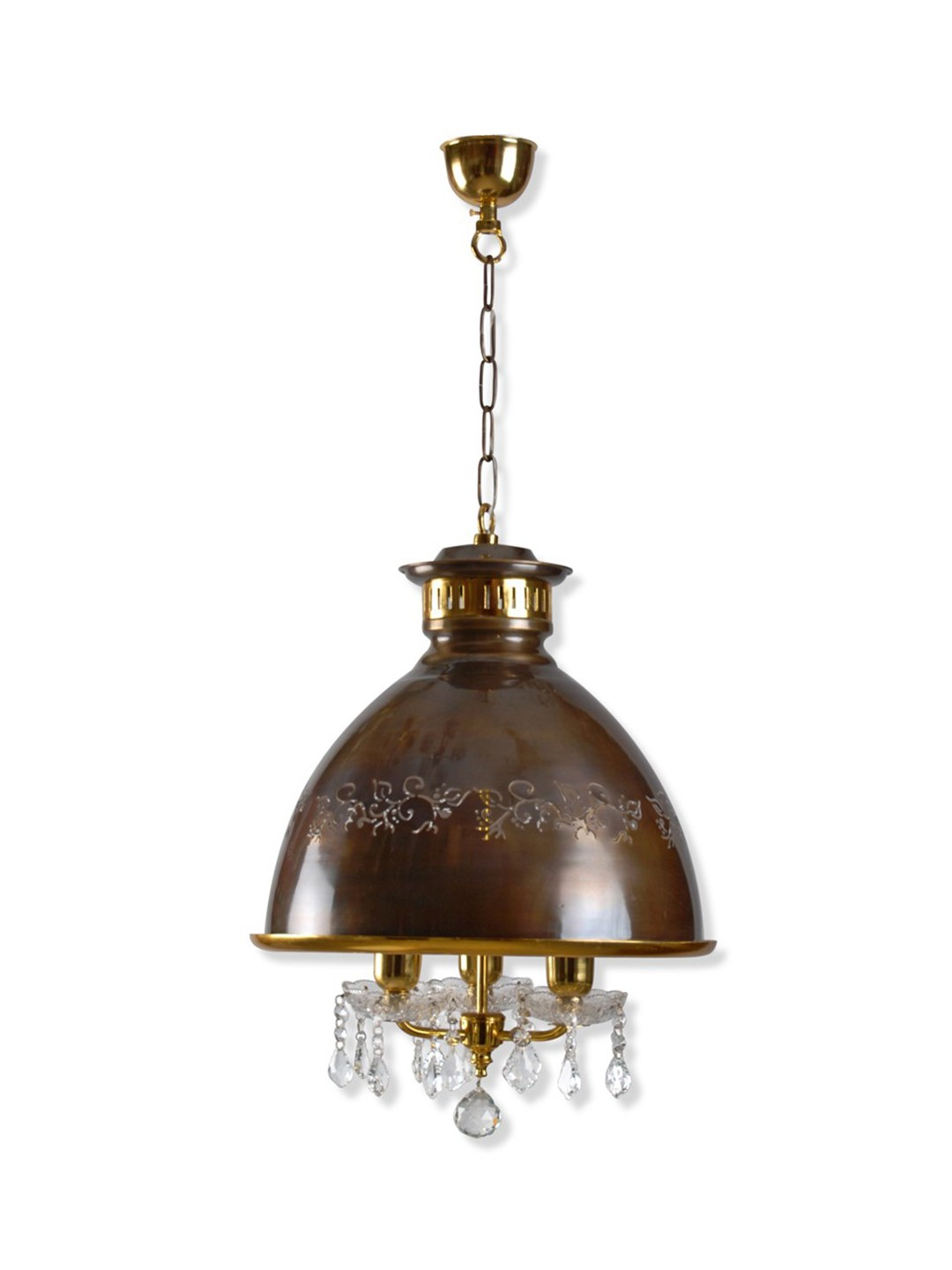 Falling Crystals 3 Light Dome Pendant Light