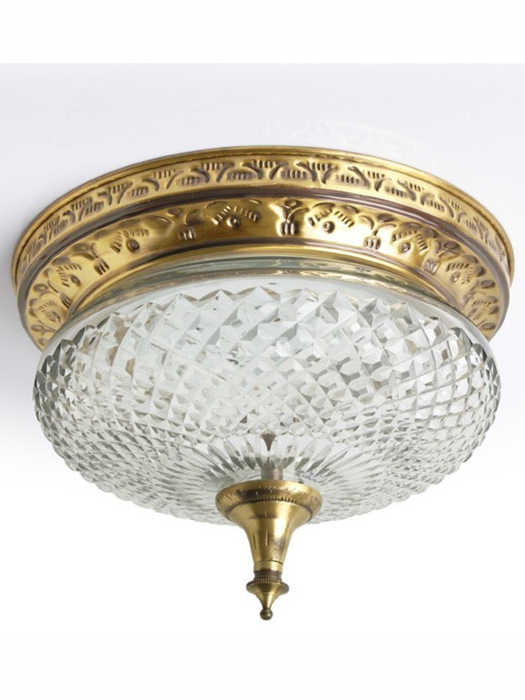 Cut Glass Brass Flush Ceiling Light