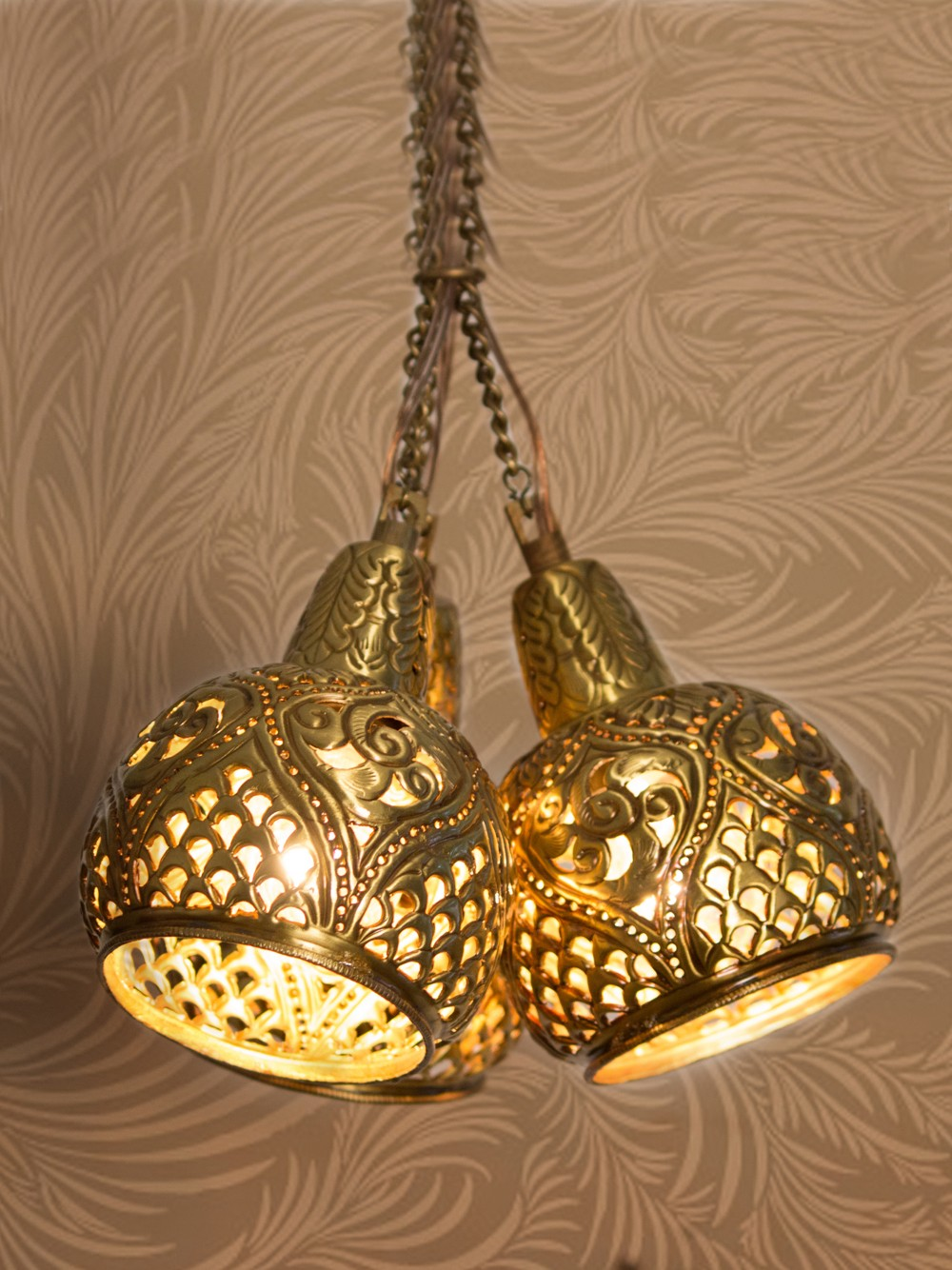 Aesthetically Hand Carved Triple Cluster Hanging Light