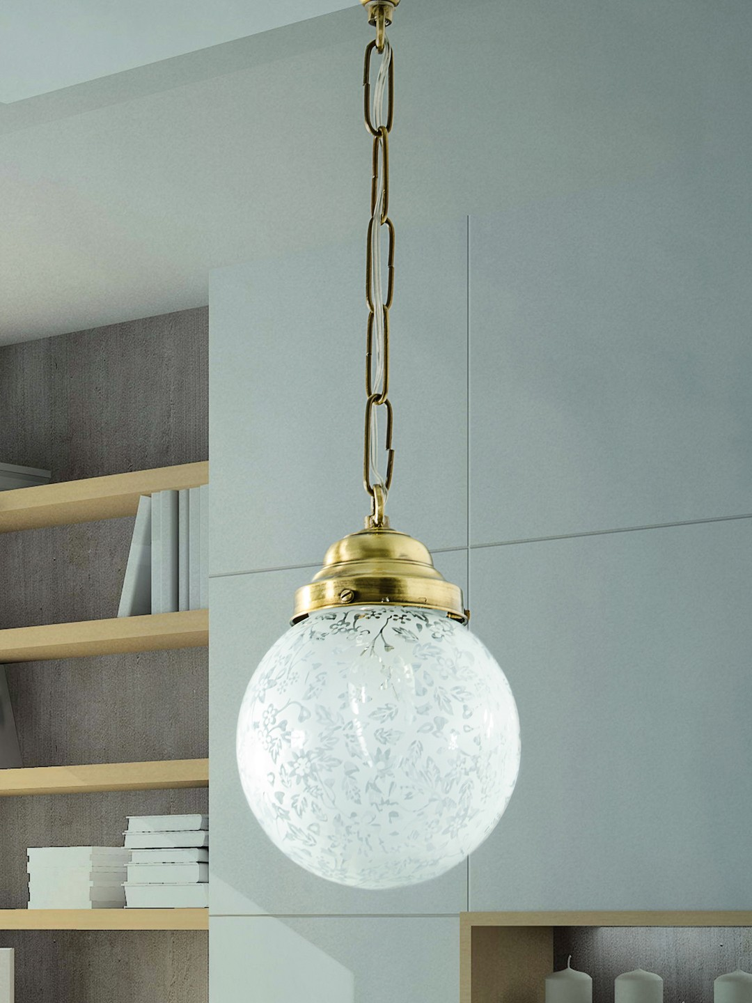 Etched Globe Ceiling Hanging Light