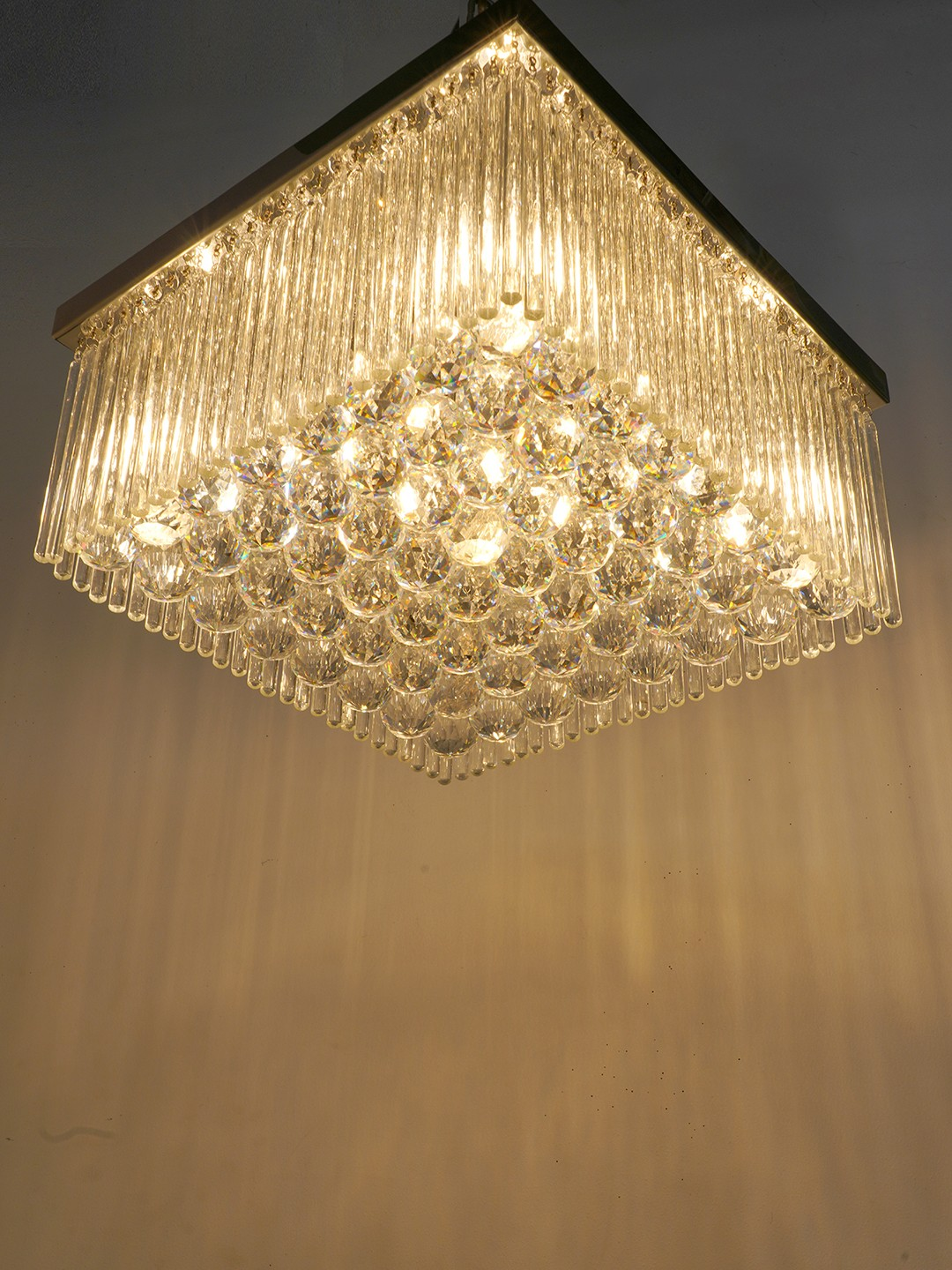 Transitional Silver Rodball cystal chandelier with chrome finish