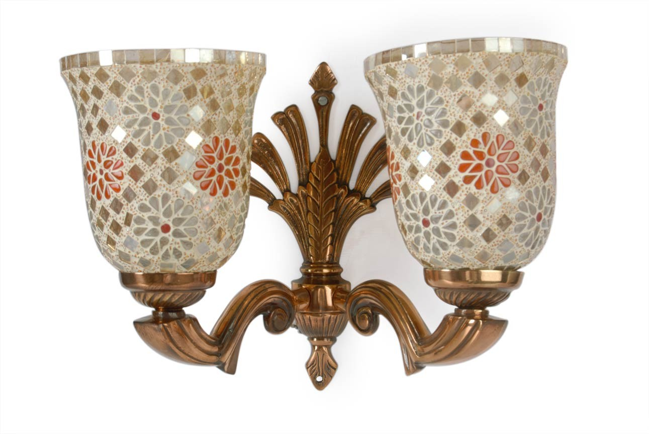 Copper Antique Mosaic Glass Double Wall Lamp