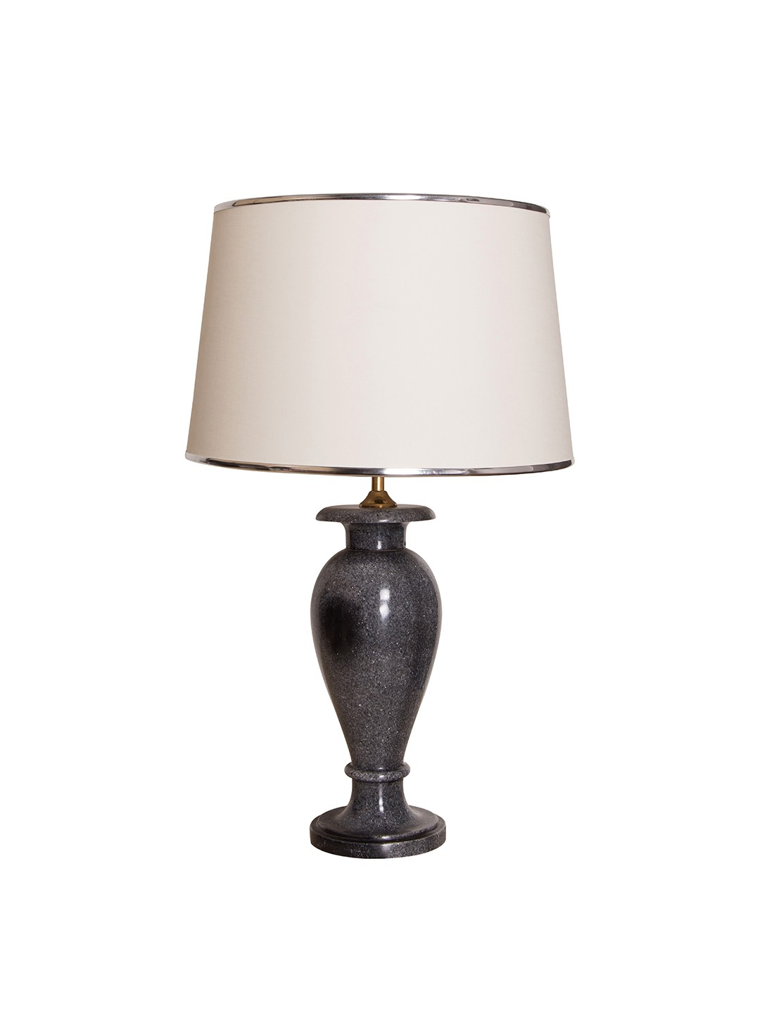 Charcoal Marble Vase Table Lamp With White Fabric Shade